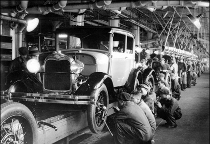 Henry Ford's assembly line epitomizing the Age of Mass Production