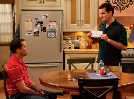 """Jon Cryer, left, and Charlie Sheen in """"Two and a Half Men."""""""