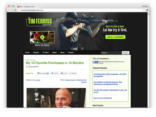 Blog | The Blog of Author Tim Ferriss | Tim Ferriss's 4-Hour Workweek and Lifestyle Design Blog
