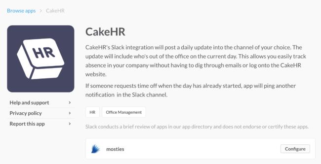 slack integration hr human resources cakehr software app download