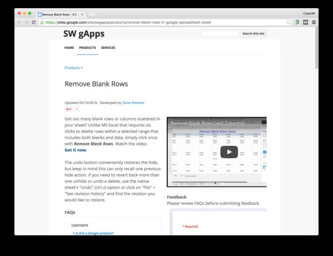 remove blank rows google