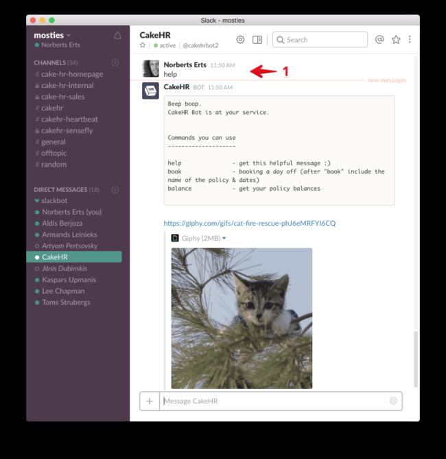 slack slackbot cakehr integration