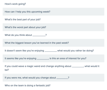 one on one meeting questions