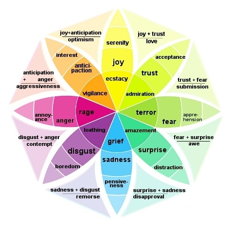 In 1980 Robert Plutchik constructed a wheel-like diagram of emotions, an infograph that uses the color wheel to illustrate variations in human affect and the relationship among emotions. Current applications of the wheel of emotion include robotics and sentiment analysis.