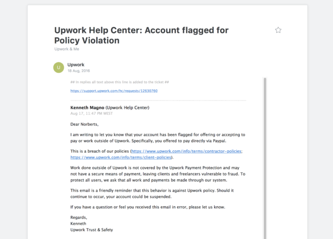 Account flagged for Policy Violation