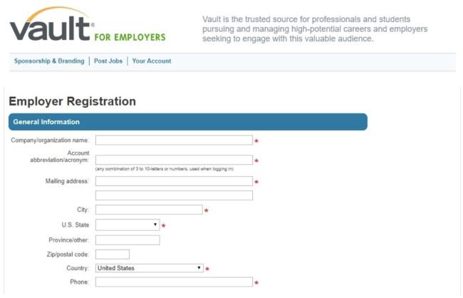 Vault Employer Registration