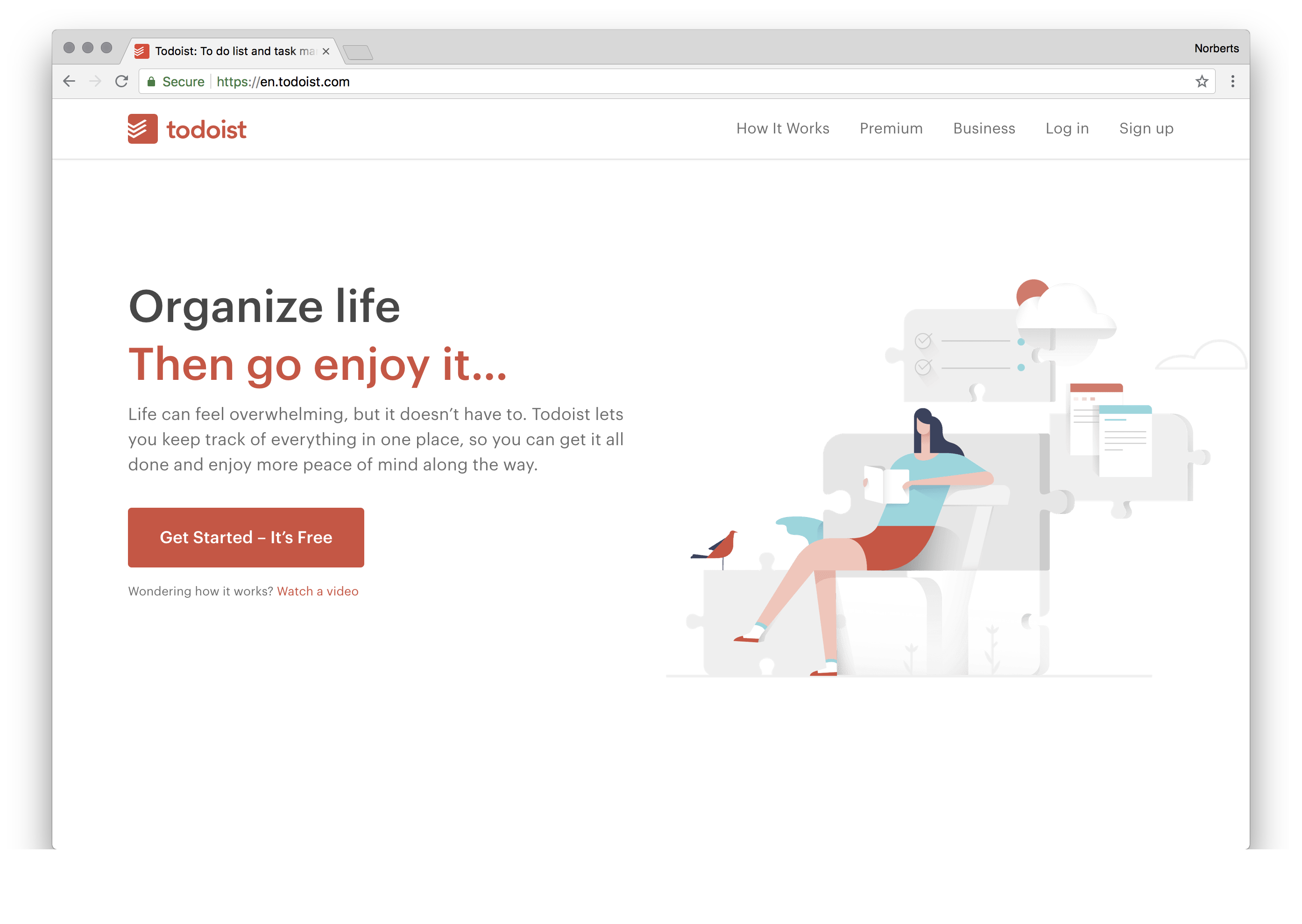 Life can feel overwhelming, but it doesn't have to. Todoist lets you keep track of everything in one place, so you can get it all done and enjoy more peace of mind along the way.