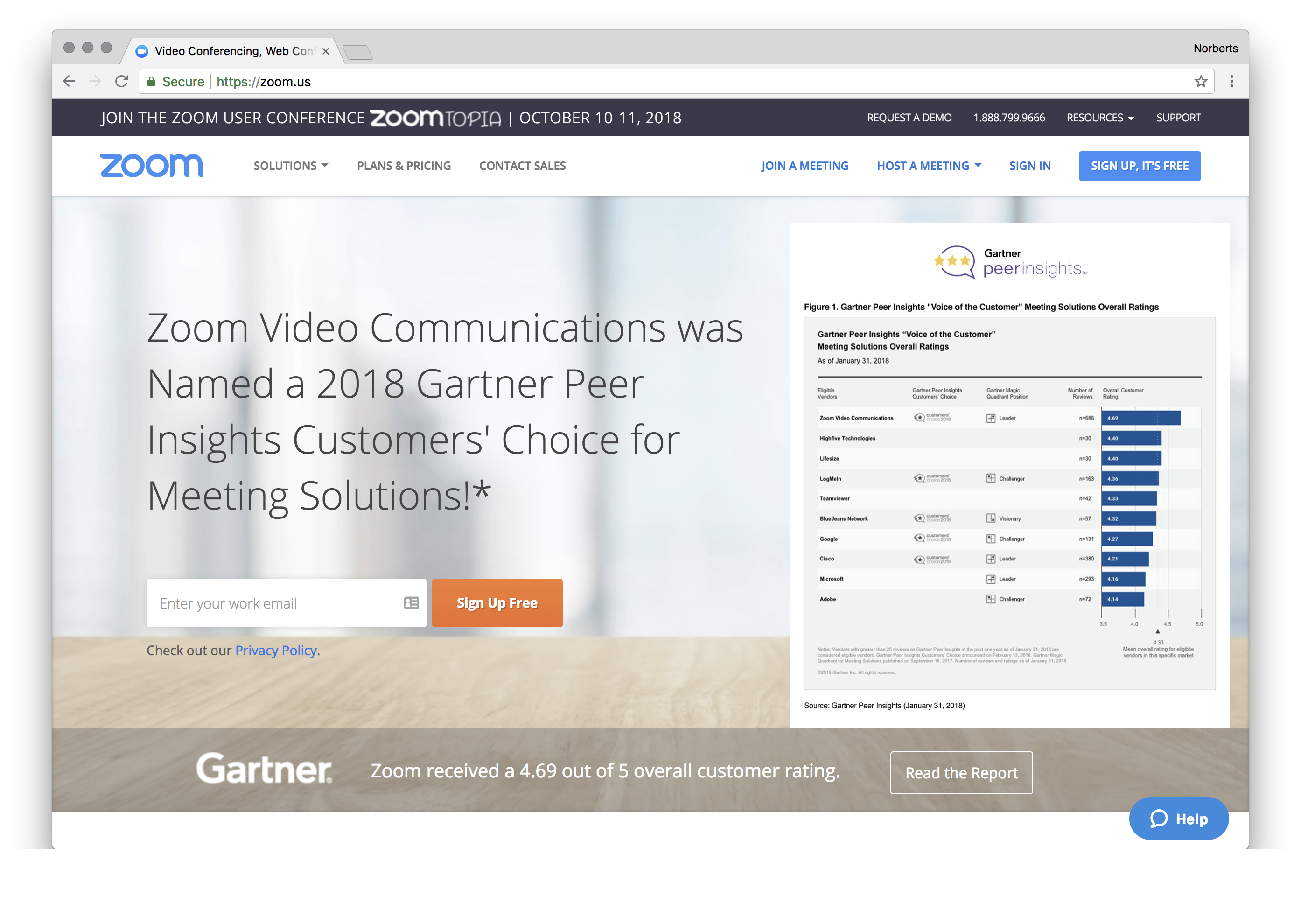 Zoom Video Communications was Named a 2018 Gartner Peer Insights Customers' Choice for Meeting Solutions!*