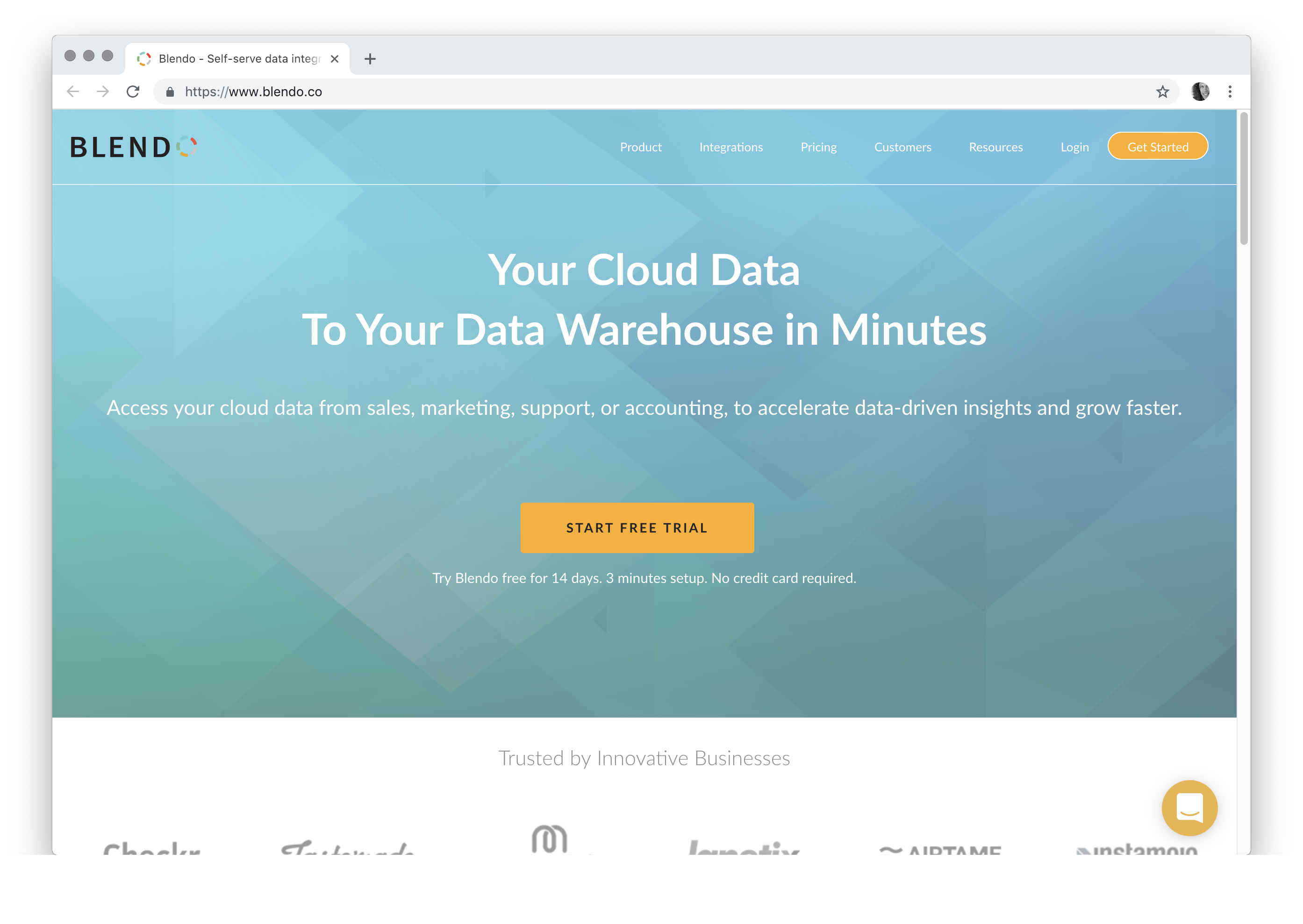 Your Cloud Data To Your Data Warehouse in Minutes Access your cloud data from sales, marketing, support, or accounting, to accelerate data-driven insights and grow faster.