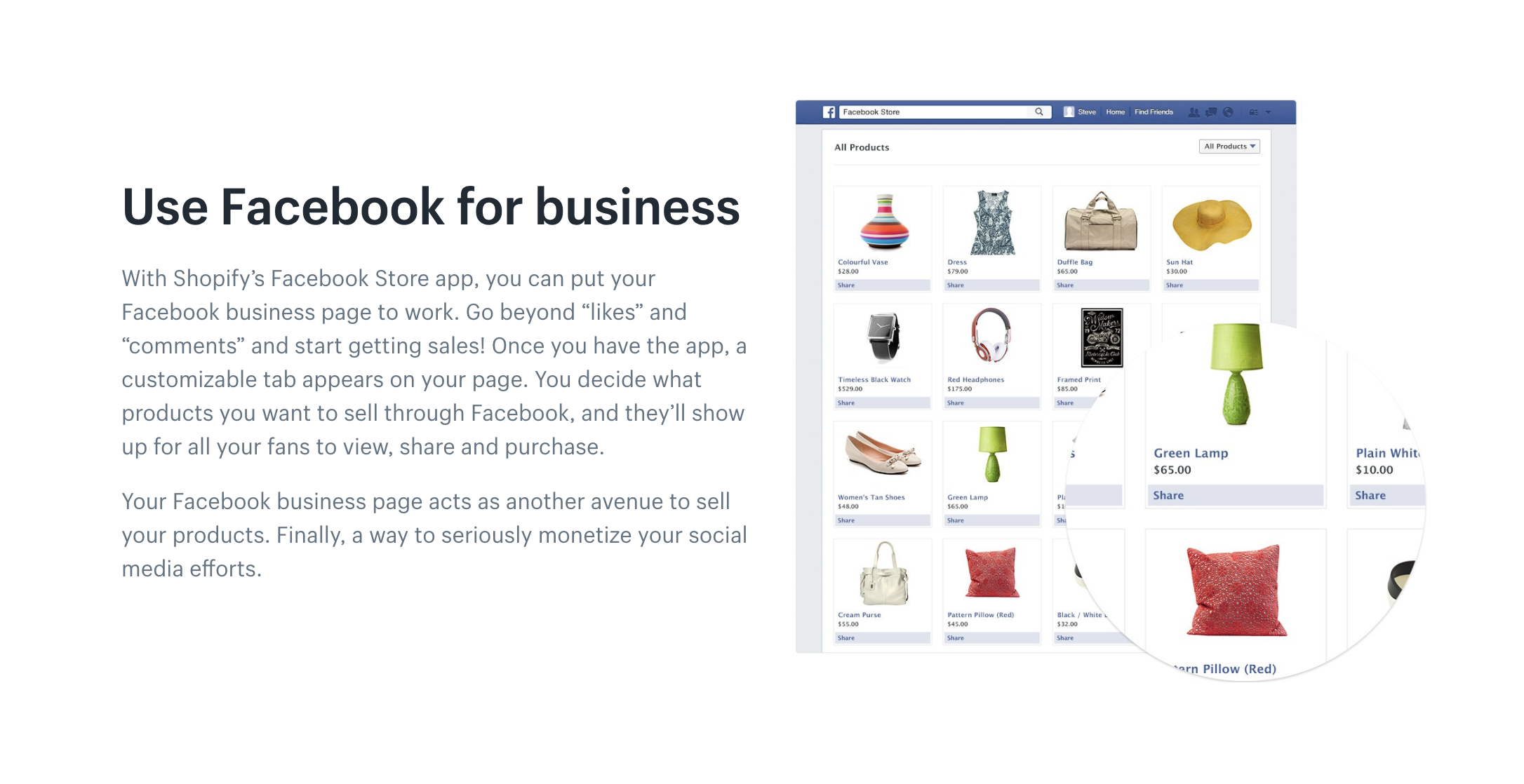 Sell and promote your products right on your Facebook page