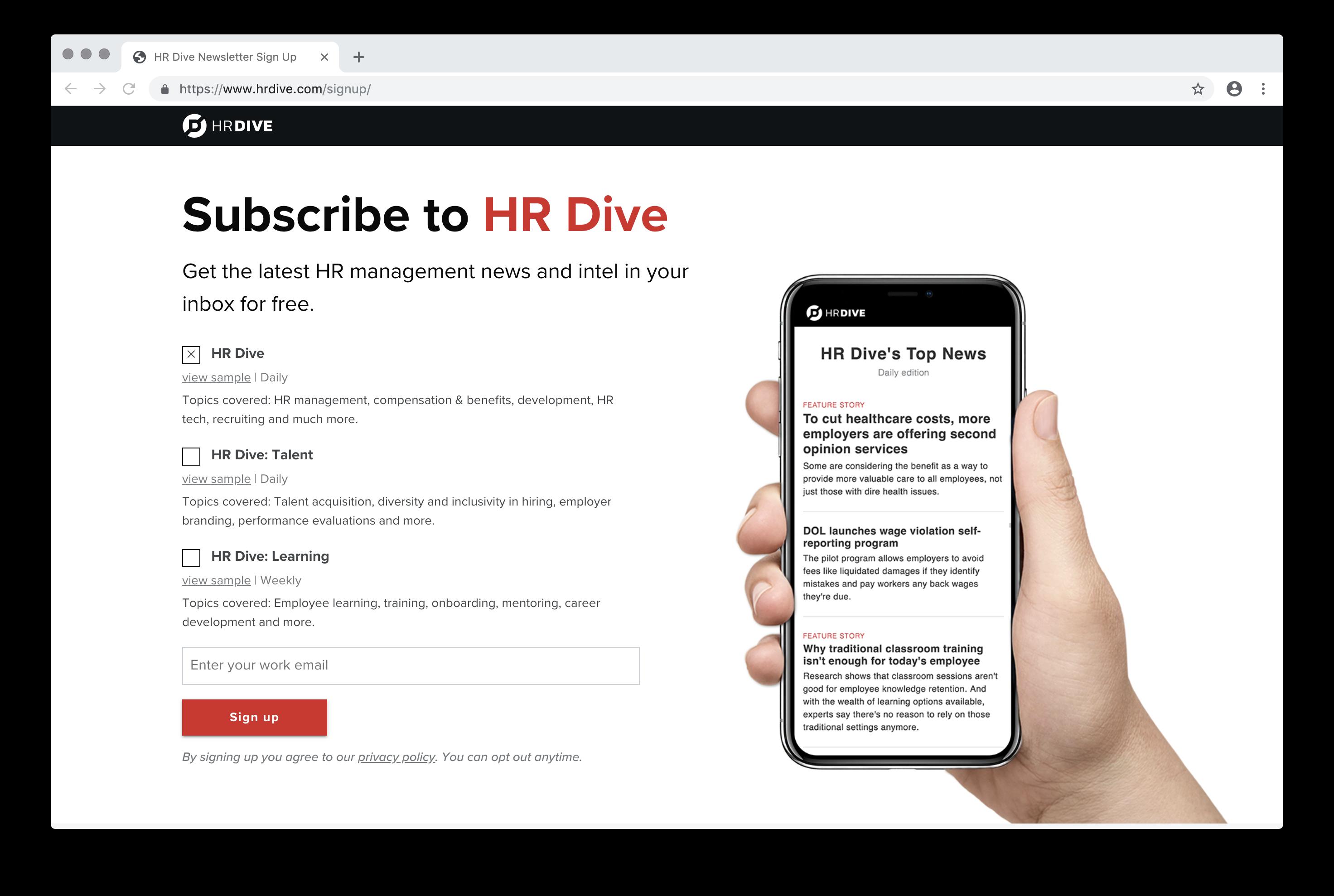 HR Dive Newsletter Sign Up