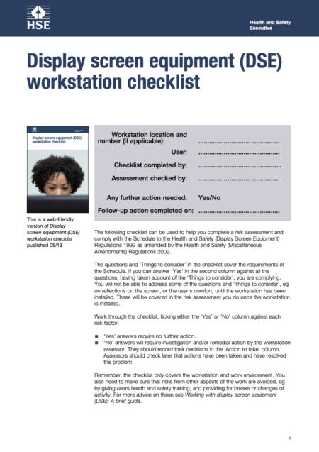 Display screen equipment (DSE) workstation checklist