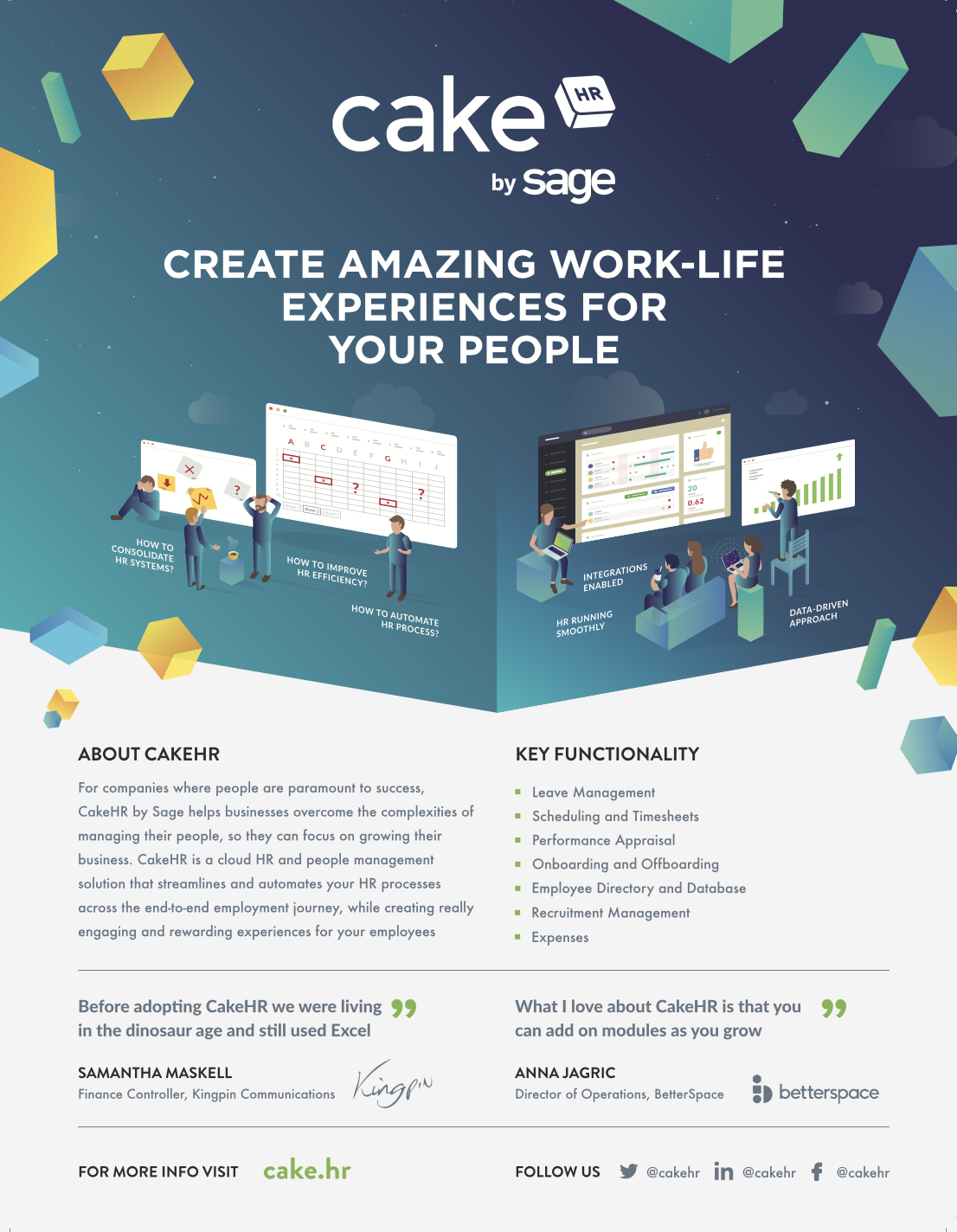 Create amazing work-life experiences for your people with HR software CakeHR by Sage
