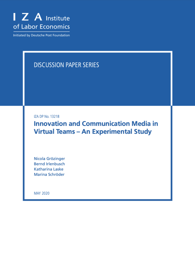 Innovation and Communication Media in Virtual Teams – An Experimental Study